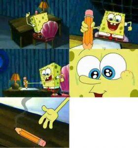 Polosan spongebob menggambar