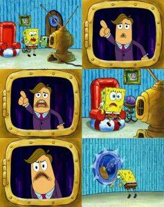Polosan spongebob nonton berita lalu banting tv