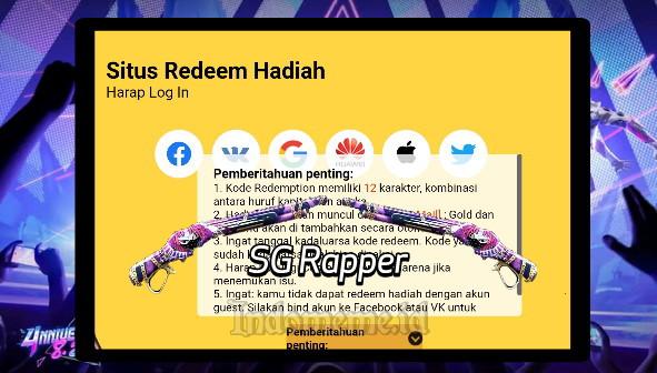 Kode Redeem FF SG Rapper